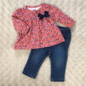 Baby Girl Outfit Floral Top Jeans Garanimals